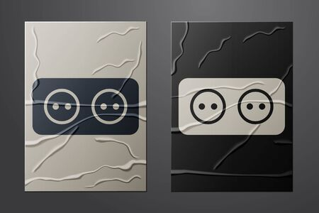 White Electrical outlet icon isolated on crumpled paper background. Power socket. Rosette symbol. Paper art style. Vector Illustration
