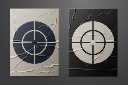 White Target sport icon isolated on crumpled paper background. Clean target with numbers for shooting range or shooting. Paper art style. Vector Illustration Иллюстрация
