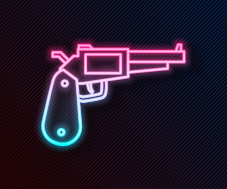 Glowing neon line Revolver gun icon isolated on black background. Vector Illustration