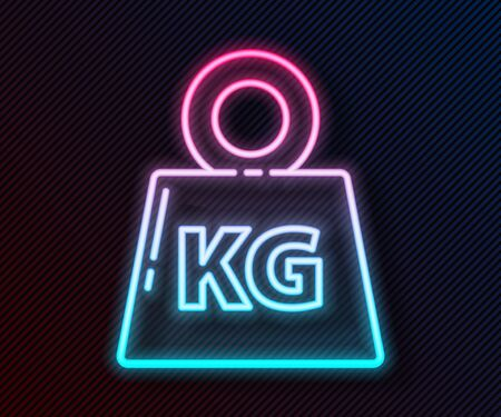Glowing neon line Weight icon isolated on black background. Kilogram weight block for weight lifting and scale. Mass symbol. Vector Illustration Ilustrace