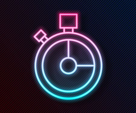 Glowing neon line Fast time delivery icon isolated on black background. Timely service, stopwatch in motion, deadline concept, clock speed. Vector Illustration
