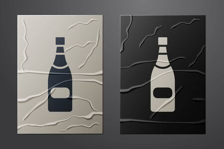 White Champagne bottle icon isolated on crumpled paper background. Paper art style. Vector Illustration