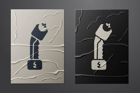 White Police electric shocker icon isolated on crumpled paper background. Shocker for protection. Taser is an electric weapon. Paper art style. Vector Illustration