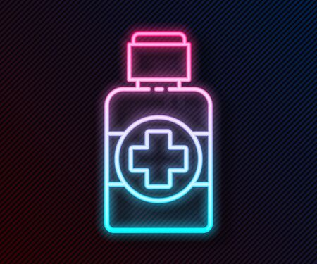 Glowing neon line Bottle of medicine syrup icon isolated on black background. Vector Illustration Illustration