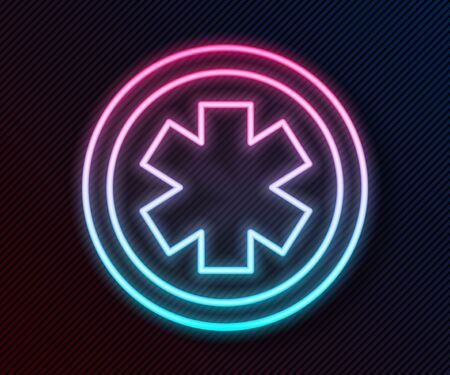 Glowing neon line Medical symbol of the Emergency - Star of Life icon isolated on black background. Vector Illustration Иллюстрация