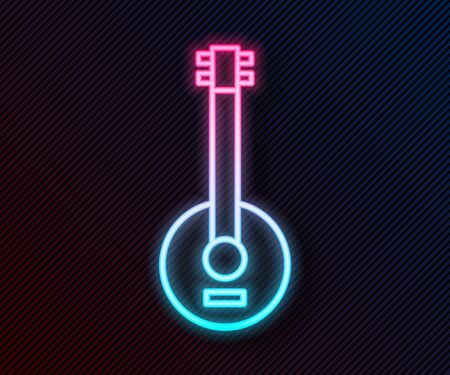 Glowing neon line Banjo icon isolated on black background. Musical instrument. Vector Illustration 向量圖像