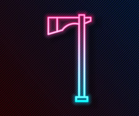 Glowing neon line Native american tomahawk axe icon isolated on black background. Vector Illustration
