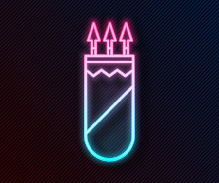 Glowing neon line Quiver with arrows icon isolated on black background. Vector Illustration