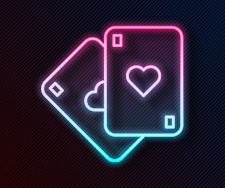 Glowing neon line Playing cards icon isolated on black background. Casino gambling. Vector Illustration
