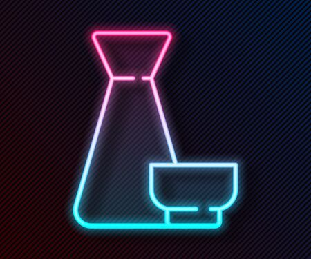 Glowing neon line Traditional Chinese tea ceremony icon isolated on black background. Teapot with cup. Vector Illustration