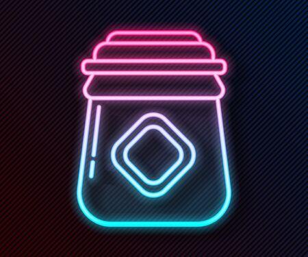 Glowing neon line Jar of honey icon isolated on black background. Food bank. Sweet natural food symbol. Vector Illustration Ilustracja