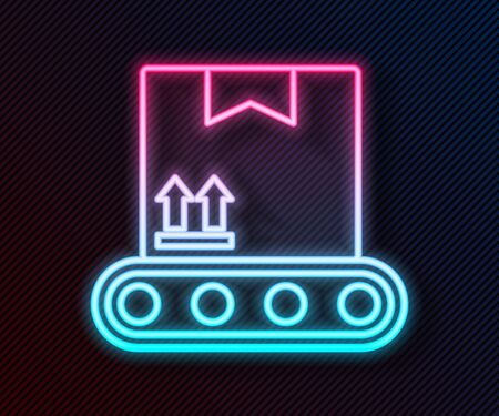 Glowing neon line Conveyor belt with cardboard box icon isolated on black background. Vector Illustration