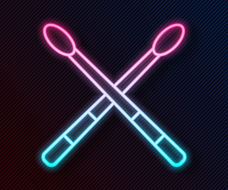 Glowing neon line Drum sticks icon isolated on black background. Musical instrument. Vector Illustration