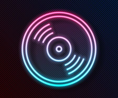 Glowing neon line Vinyl disk icon isolated on black background. Vector Illustration