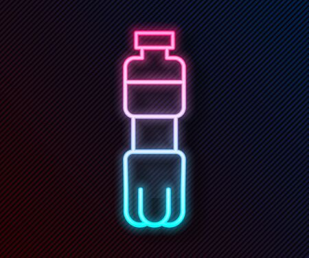 Glowing neon line Bottle of water icon isolated on black background. Soda aqua drink sign. Vector Illustration