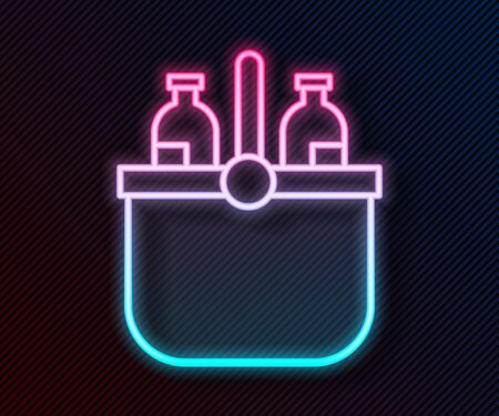 Glowing neon line Cooler bag and water icon isolated on black background. Portable freezer bag. Handheld refrigerator. Vector Illustration