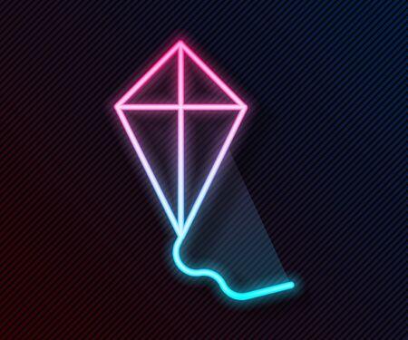 Glowing neon line Kite icon isolated on black background. Vector Illustration 일러스트