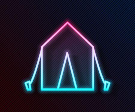 Glowing neon line Tourist tent icon isolated on black background. Camping symbol. Vector Illustration Illusztráció