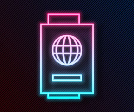 Glowing neon line Passport with ticket icon isolated on black background. Identification Document. Concept travel and tourism. Vector Illustration 向量圖像