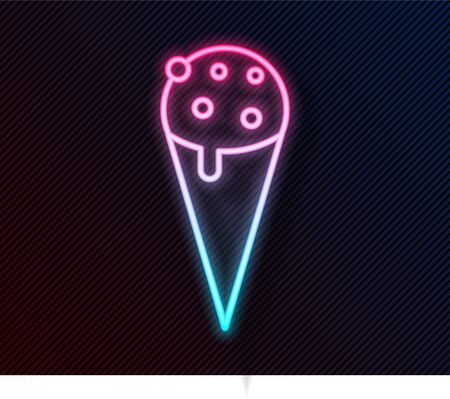 Glowing neon line Ice cream in waffle cone icon isolated on black background. Sweet symbol. Vector Illustration Illustration