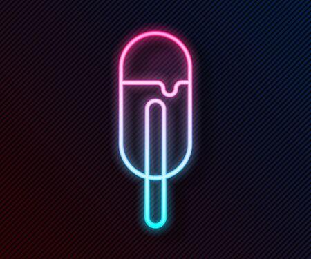 Glowing neon line Ice cream icon isolated on black background. Sweet symbol. Vector Illustration Illustration