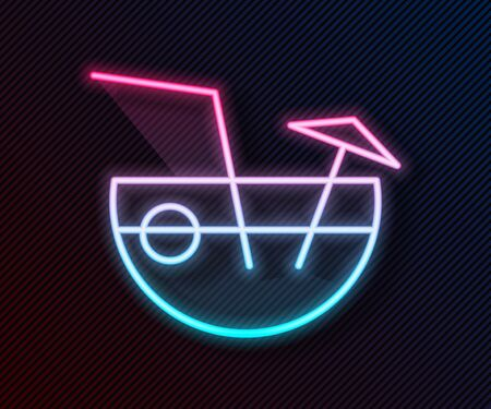 Glowing neon line Coconut juice exotic fresh cocktail and umbrella icon isolated on black background. Vector Illustration Ilustração