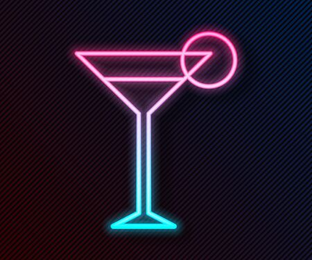 Glowing neon line Martini glass icon isolated on black background. Cocktail icon. Wine glass icon. Vector Illustration Vetores