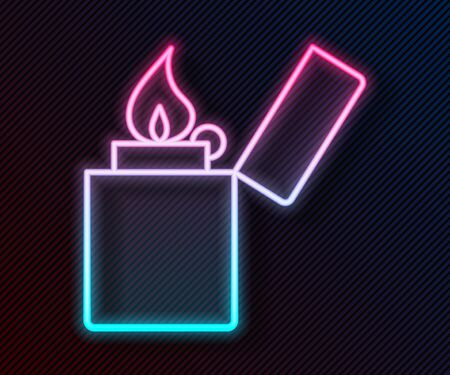 Glowing neon line Lighter icon isolated on black background. Vector Illustration