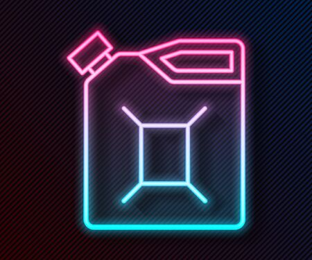 Glowing neon line Canister for gasoline icon isolated on black background. Diesel gas icon. Vector Illustration