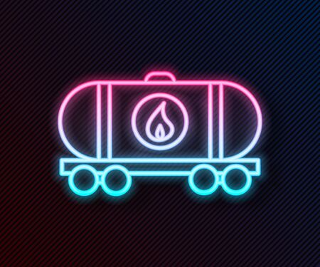 Glowing neon line Oil railway cistern icon isolated on black background. Train oil tank on railway car. Rail freight. Oil industry. Vector Illustration