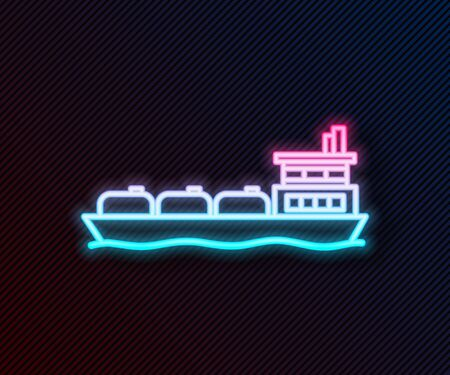 Glowing neon line Oil tanker ship icon isolated on black background. Vector Illustration