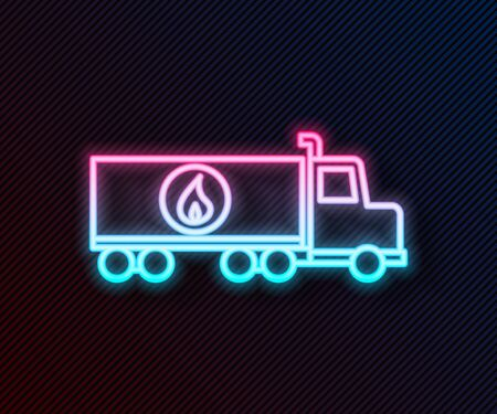 Glowing neon line Tanker truck icon isolated on black background. Petroleum tanker, petrol truck, cistern, oil trailer. Vector Illustration