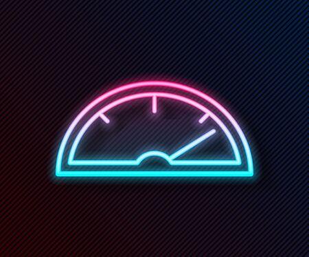 Glowing neon line Speedometer icon isolated on black background. Vector Illustration Illustration