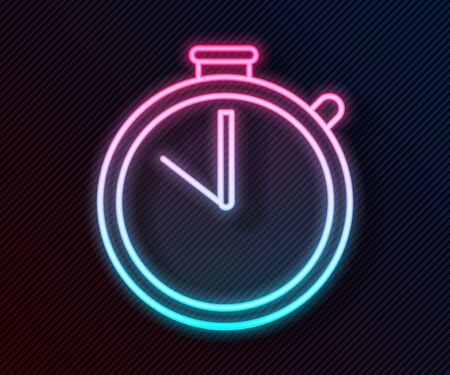 Glowing neon line Stopwatch icon isolated on black background. Time timer sign. Chronometer sign. Vector Illustration Ilustrace