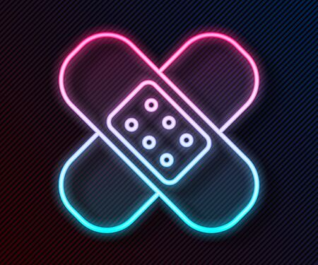 Glowing neon line Crossed bandage plaster icon isolated on black background. Medical plaster, adhesive bandage, flexible fabric bandage. Vector Illustration Ilustração