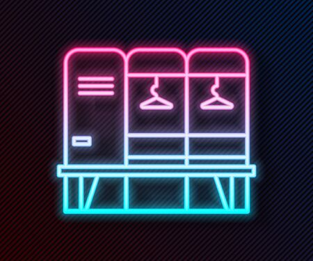 Glowing neon line Locker or changing room for hockey, football, basketball team or workers icon isolated on black background. Vector Illustration