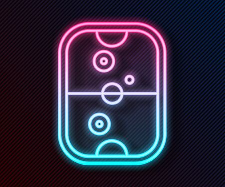 Glowing neon line Air hockey table icon isolated on black background. Vector Illustration