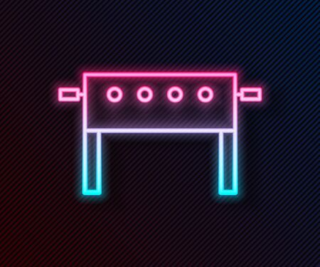 Glowing neon line Hockey table icon isolated on black background. Vector Illustration