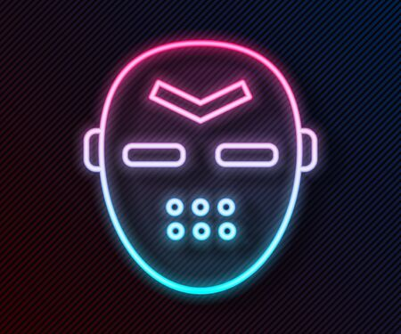 Glowing neon line Hockey mask icon isolated on black background. Vector Illustration