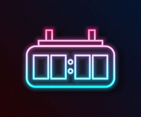 Glowing neon line Sport hockey mechanical scoreboard and result display icon isolated on black background. Vector Illustration