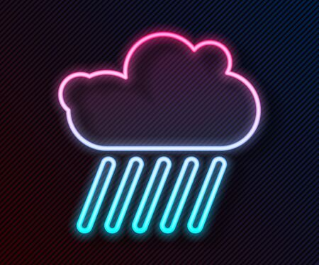Glowing neon line Cloud with rain icon isolated on black background. Rain cloud precipitation with rain drops. Vector Illustration