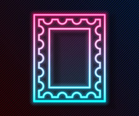 Glowing neon line Postal stamp icon isolated on black background. Vector Illustration