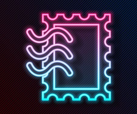 Glowing neon line Postal stamp icon isolated on black background. Vector Illustration 矢量图像
