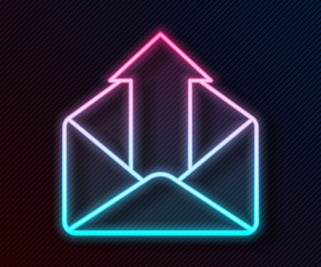 Glowing neon line Outgoing mail icon isolated on black background. Envelope symbol. Outgoing message sign. Mail navigation button. Vector Illustration Ilustración de vector