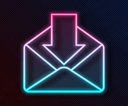 Glowing neon line Envelope icon isolated on black background. Received message concept. New, email incoming message, sms. Mail delivery service. Vector Illustration