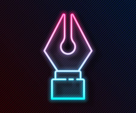 Glowing neon line Fountain pen nib icon isolated on black background. Pen tool sign. Vector Illustration Ilustrace
