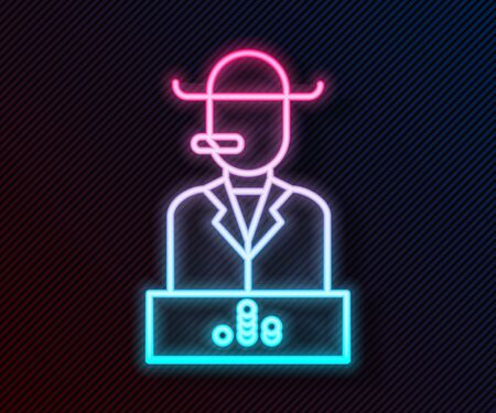 Glowing neon line Poker player icon isolated on black background. Vector Illustration