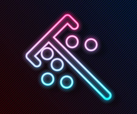 Glowing neon line Stick for chips icon isolated on black background. Casino gambling. Vector Illustration