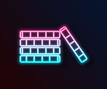 Glowing neon line Casino chips icon isolated on black background. Casino gambling. Vector Illustration Ilustracja