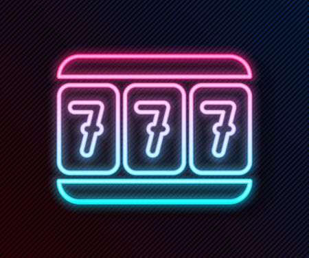 Glowing neon line Slot machine with lucky sevens jackpot icon isolated on black background. Vector Illustration Ilustracja